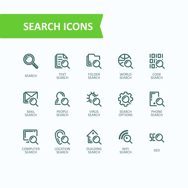 Set of vector illustrations fine line icons of\ analysis, search of information. 32x32 pixel perfect