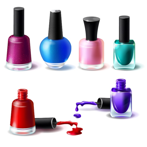 Set of vector illustrations in realistic style clean bottles with nail polish of different colors