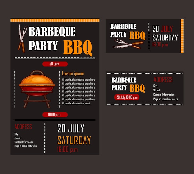 set of vector illustrations of a bbq menu template invitation card on a barbecue gift. Black Bedroom Furniture Sets. Home Design Ideas