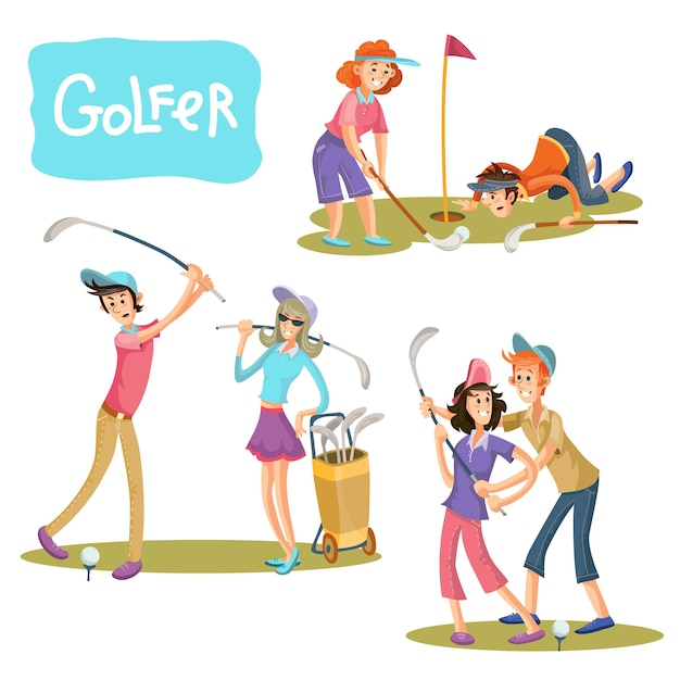 Set of vector illustrations of golf\ games.