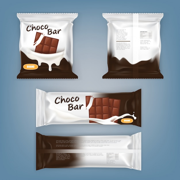 Set of vector illustrations of packing for chocolate bars Free Vector
