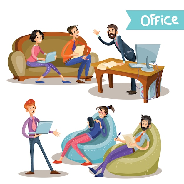 Set of vector illustrations of the head with subordinates, office workers, partners
