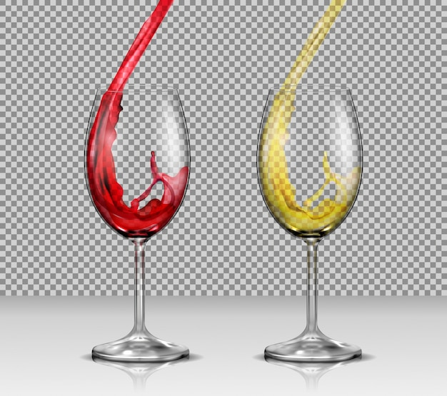 set of vector illustrations of transparent glass wine