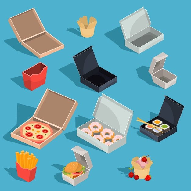 Set of vector isometric illustrations of fast food meal in a cardboard packing and empty open cardboard boxes Free Vector