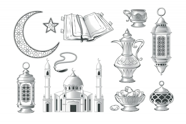 Set of vector muslim illustrations, icons for\ prayer and ramadan kareem in the style of engraving