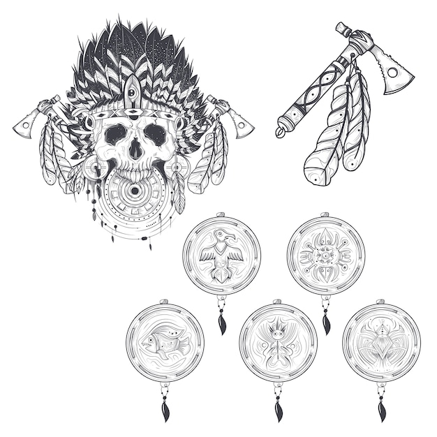 Set of vector templates for a tattoo with a human skull in an indian ...