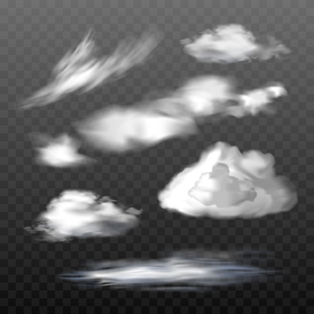 Set of vector translucent clouds of various types Free Vector