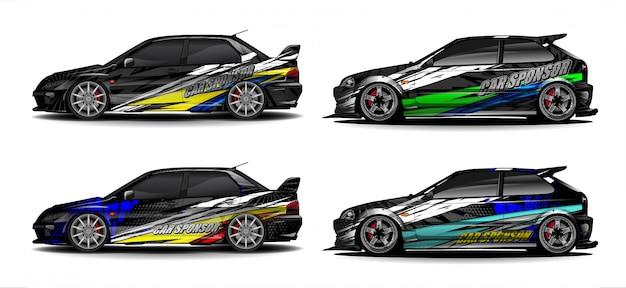 Набор транспортного средства графического набора вектора. современный абстрактный фон для автомобильной брендинга и автомобильных наклеек. Premium векторы
