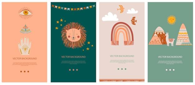 Набор вертикальных фоновых шаблонов для социальной сети и мобильного приложения с милыми элементами бохо для детей, декоративными каракули и животными. Premium векторы