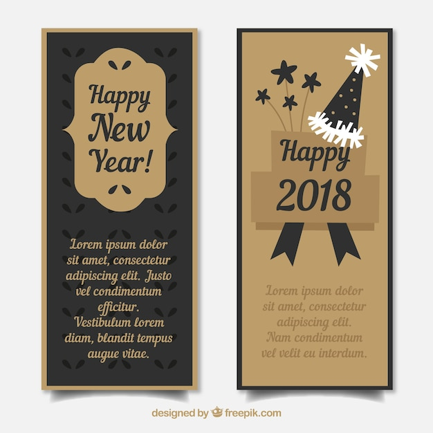 set of vertical new year banners in black and golden free vector