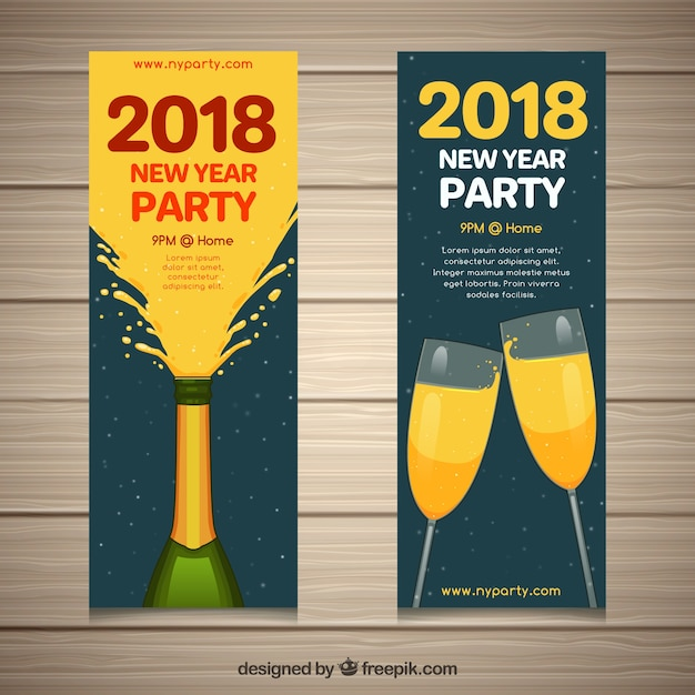 set of vertical new year banners with champagne free vector