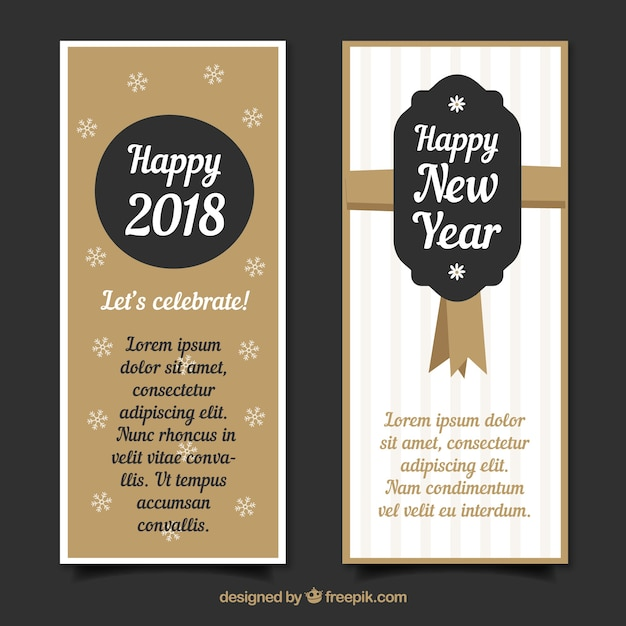 set of vertical new year banners with golden elements free vector