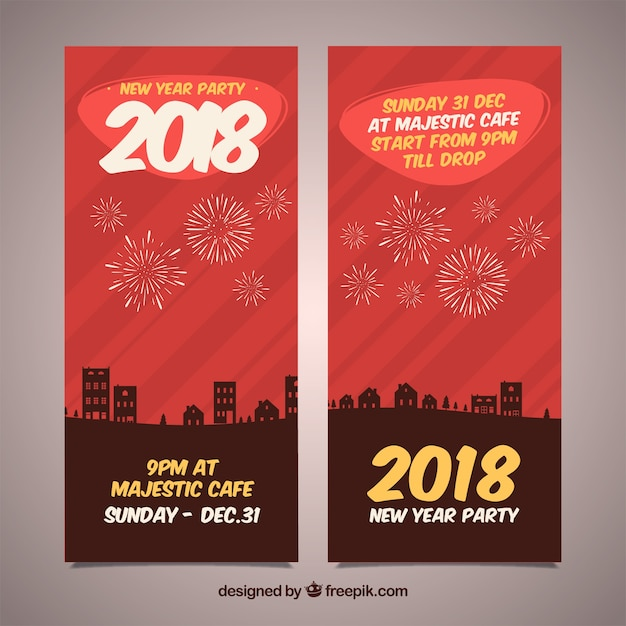 set of vertical red new year banners free vector