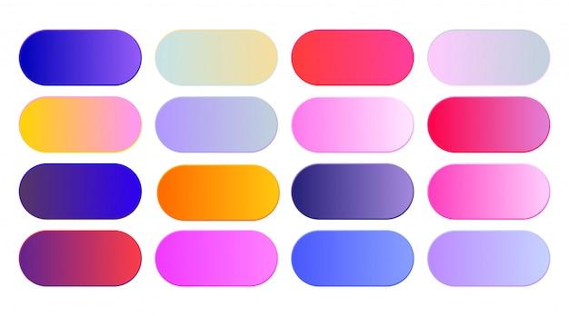 Набор ярких градиентов образцов или кнопок Бесплатные векторы