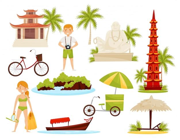 ベトナムの文化的オブジェクトのセット。有名なランドマーク、歴史的建造物、観光客、交通機関 Premiumベクター