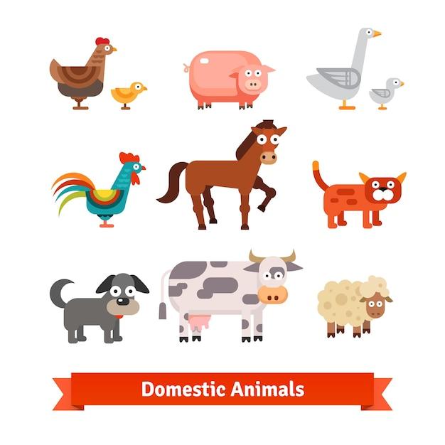 Набор сельских домашних животных Бесплатные векторы