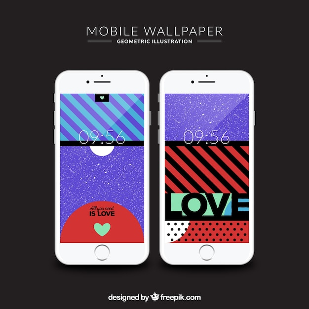 Set of vintage abstract wallpapers for mobiles
