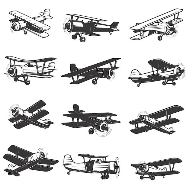 Набор иконок старинных самолетов. иллюстрации самолетов. элемент для, этикетка, эмблема, знак. иллюстрации. Premium векторы