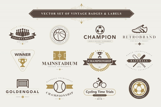 Набор старинных значков и этикеток. Premium векторы