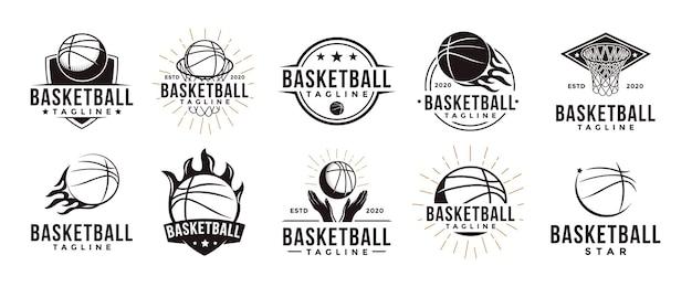 바구니 장비 개념 빈티지 농구 스포츠 팀 클럽 리그 로고 세트 프리미엄 벡터