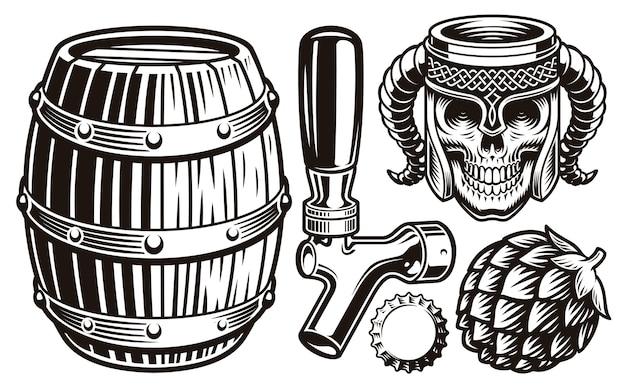빈티지 맥주 삽화의 세트 프리미엄 벡터