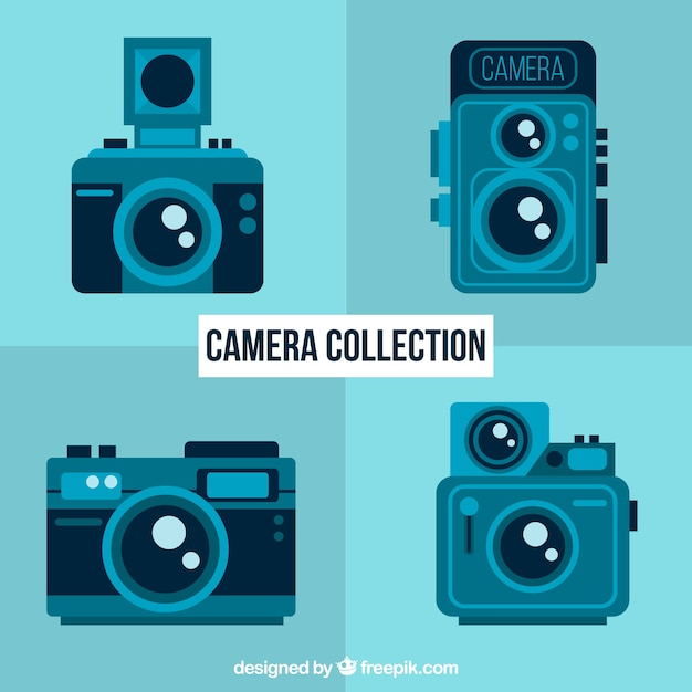 Set of vintage blue cameras in flat design