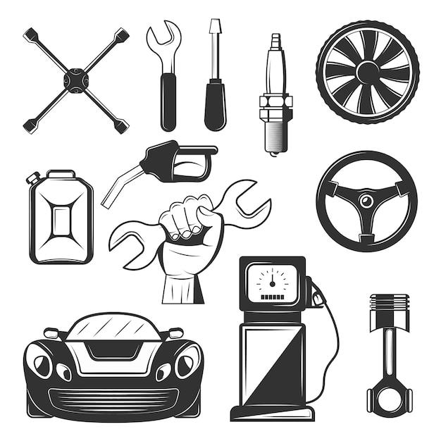 Набор символов обслуживания старинных автомобилей, значки, изолированные на белом фоне. черные шаблоны для логотипов и печати. Premium векторы