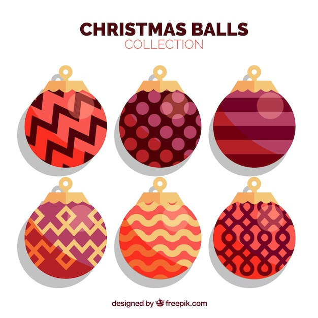 Set of vintage christmas balls in realistic style
