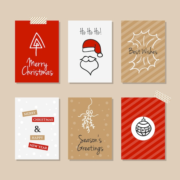 Set Of Vintage Christmas Cards In Hand Drawn Style Free Vector