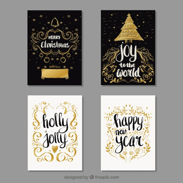 Set Of Vintage Christmas Cards With Golden Sketches Free Vector