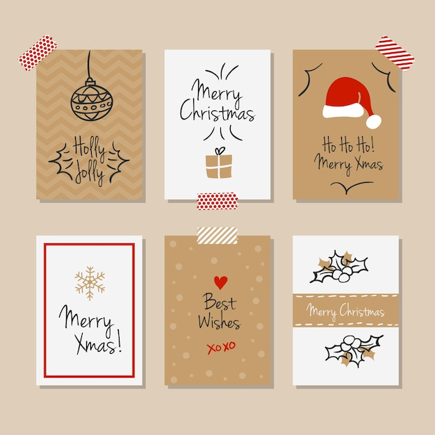 Captivating Set Of Vintage Christmas Cards Free Vector