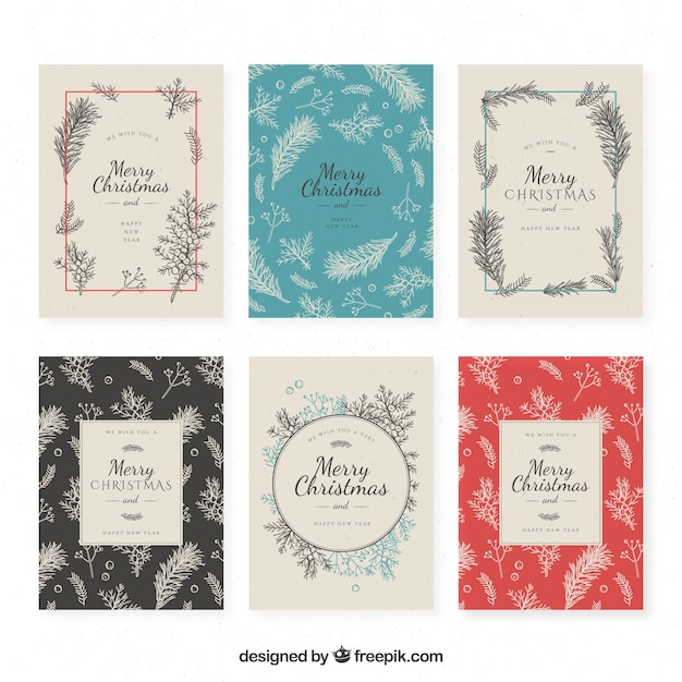 Set Of Vintage Christmas Cards Free Vector