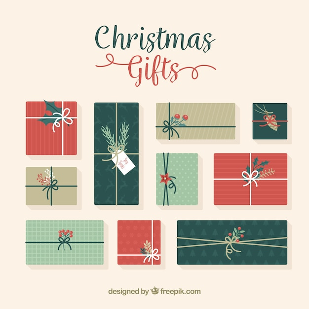 set of vintage christmas gifts in flat design free vector - Vintage Christmas Gifts
