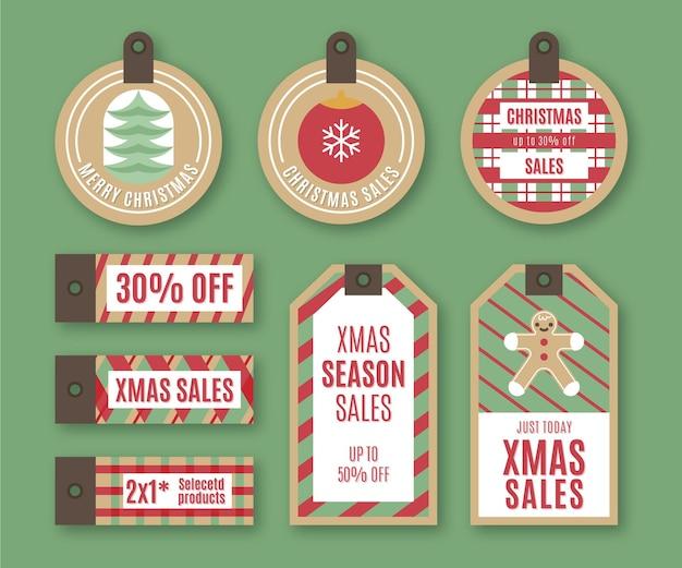Набор старинных рождественских тегов продажи Бесплатные векторы
