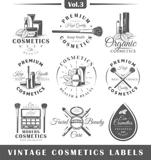 ヴィンテージ化粧品ラベル、ロゴのセット Premiumベクター