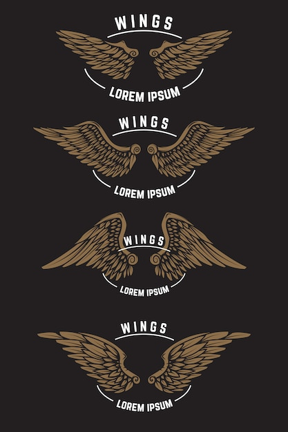 翼を持つヴィンテージエンブレムテンプレートのセット。ロゴ、ラベル、エンブレム、ポスターの要素。図 Premiumベクター
