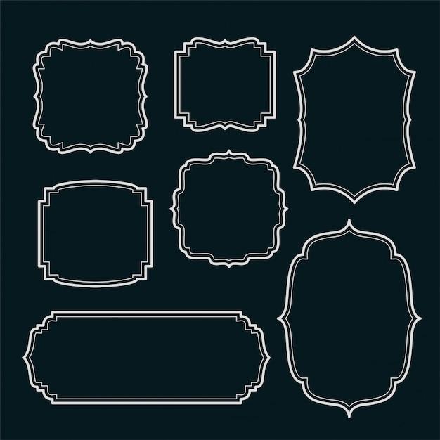 Набор старинных рамок и этикеток Бесплатные векторы