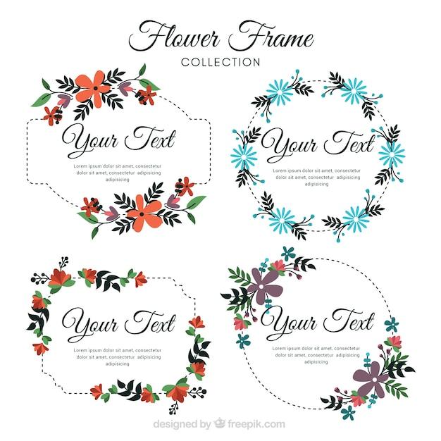 Set of vintage frames of beautiful flowers