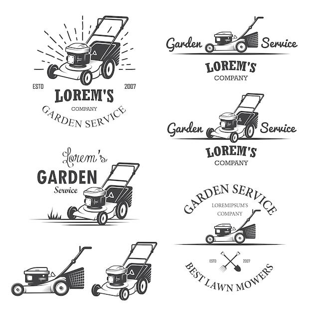 Набор старинных садовых сервисных эмблем, этикеток, значков, логотипов и элементов дизайна. монохромный стиль Бесплатные векторы