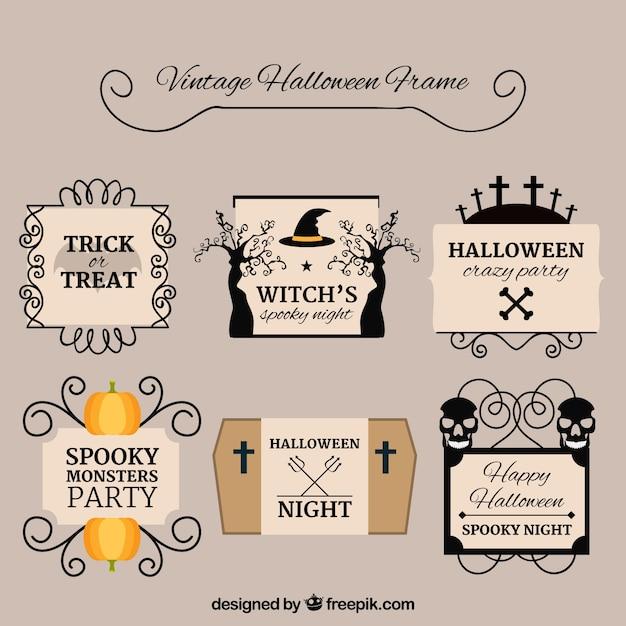 Set of vintage halloween frames
