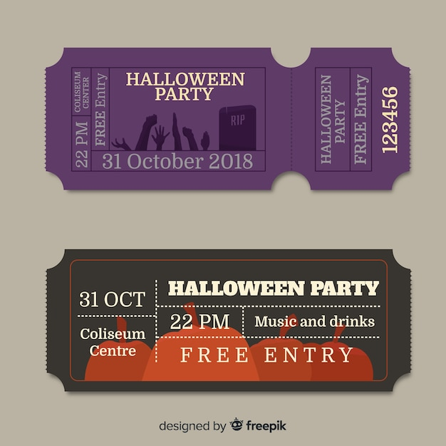 Set Of Vintage Halloween Party Tickets Free Vector