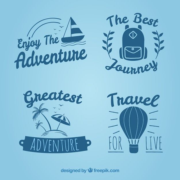 Set of vintage hand drawn travel badges