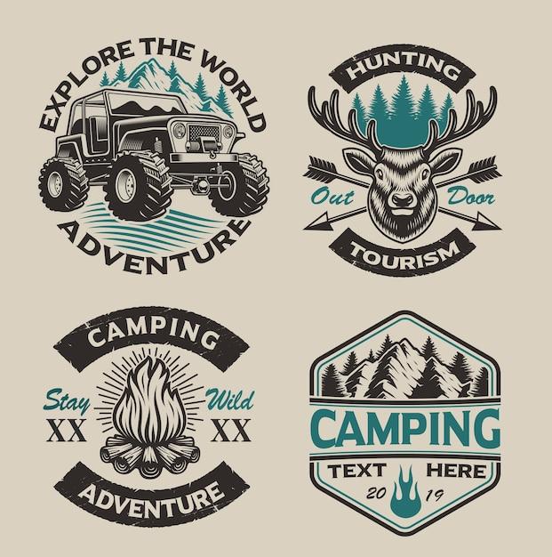 Набор старинных логотипов для кемпинга на светлом фоне. идеально подходит для плакатов, одежды, футболок и многого другого. слоистый Premium векторы