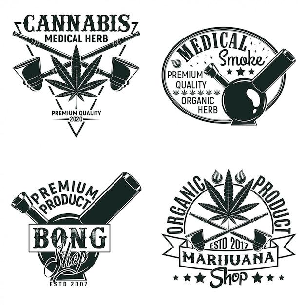 ビンテージ医療大麻ロゴデザイン、グランジプリントスタンプ、創造的なマリファナのタイポグラフィエンブレムのセット、 Premiumベクター