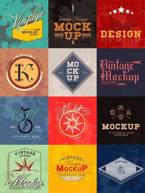 Set of vintage mockup logo design vector Free Vector
