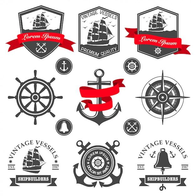 Набор старинных морских этикеток, значков и элементов дизайна Бесплатные векторы