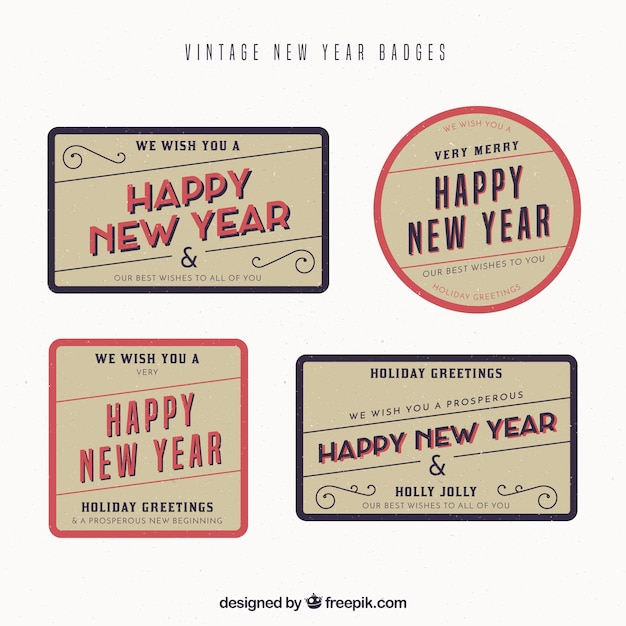 set of vintage new year stickers