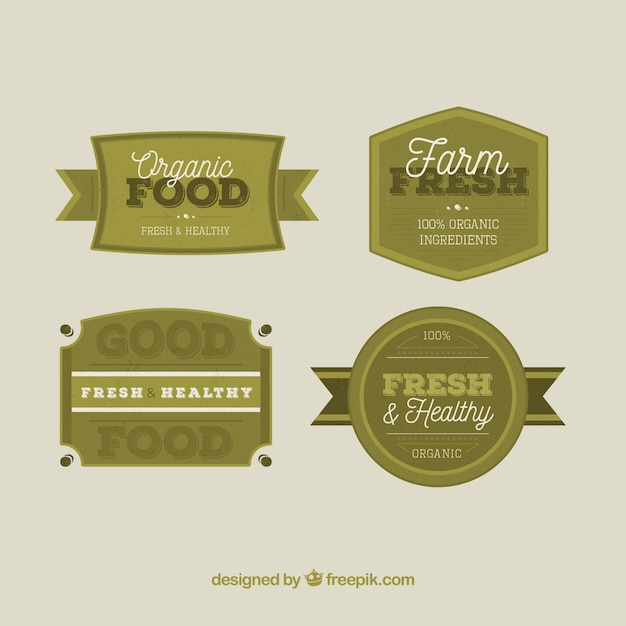 Set Of Organic Food Labels In Green