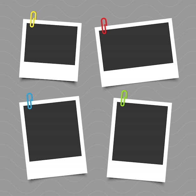 Set Of Vintage Photo Frame With Tape Paper Clip Vector Premium