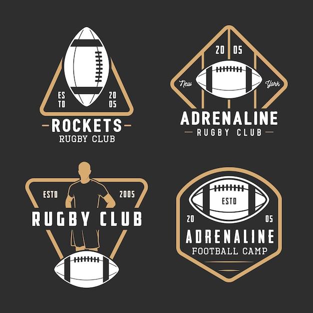 ビンテージラグビーとアメリカンフットボールのラベル、エンブレム、ロゴのセット。 Premiumベクター